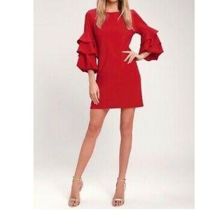 Ruffle Sleeves Red Dress